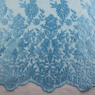 Сетка с вышивкой ( голубая) VT-711