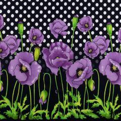 Трикотажное х/б полотно принт купон (фиолетовые маки) Кулир халатный VT-846