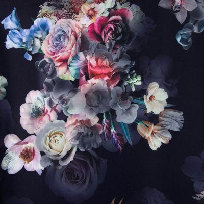 Барби-креп костюмка (цветы на темно-синем) МT-1617(К-3)-D10-C1