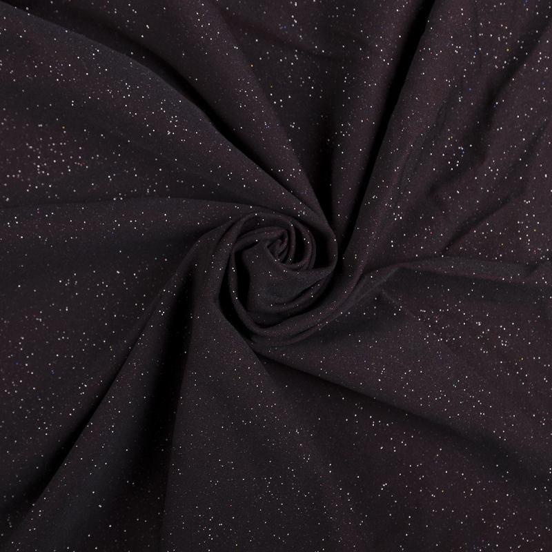 Трикотаж люрекс (Звездное небо, черный с отливом марсала) VT-954