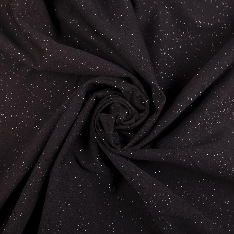 Трикотаж люрекс (Звездное небо, черный с отливом хаки) VT-955