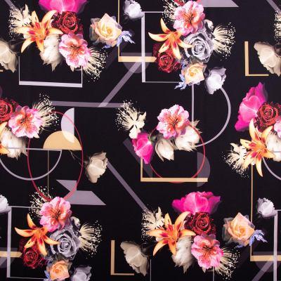 Барби-креп костюмка (цветы + абстракция) VT-1049