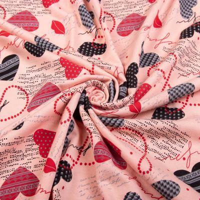 Трикотаж Двунитка принт (сердечки на розовом) VT-1080