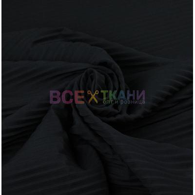 Шифон плиссэ крупный (чёрный) VT-418