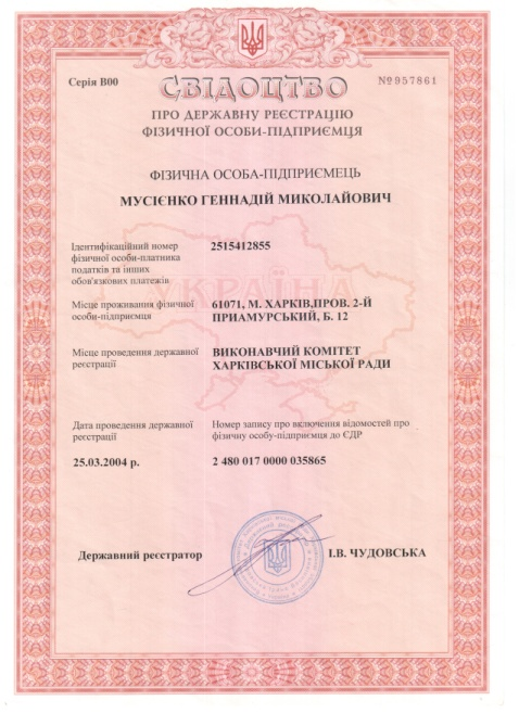 свидетельство предпринимателя серия В00 №957861
