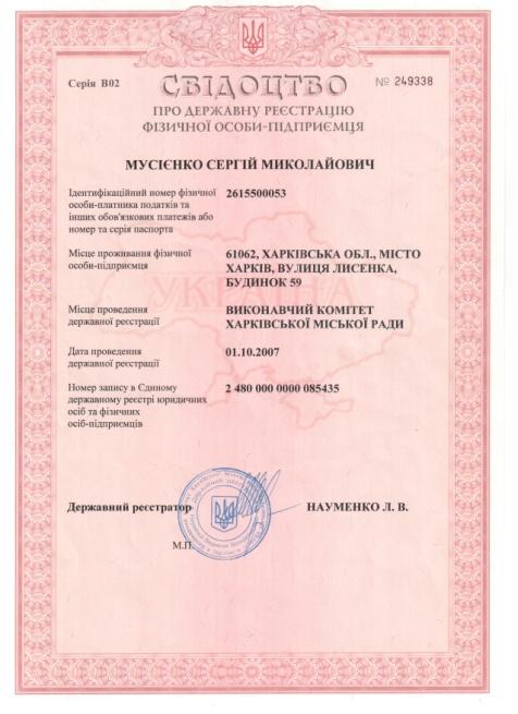 свидетельство предпринимателя серия В02 №249338