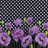 Трикотажное х/б полотно принт (фиолетовые маки) стрейч Кулир халатный VT-846