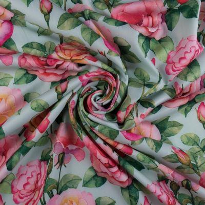 Барби-креп костюмка (голубые розы на мяте) VT-866-C1