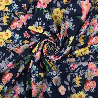 Барби-креп костюмка (цветы на темно-синем) VT-878