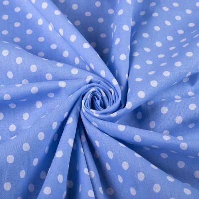 Лён принт горох (на голубом) VT-1145-C2