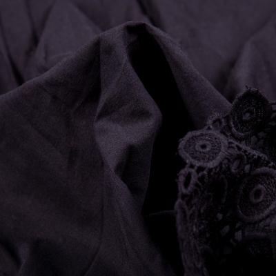 Батист вышивка перфорация купон (чёрный) VT-1167-C3