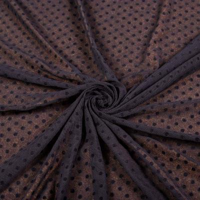 Сетка стрейч принт флок (мелкий горох чёрный на чёрном ≈ 3-5мм) VT-1176-C1