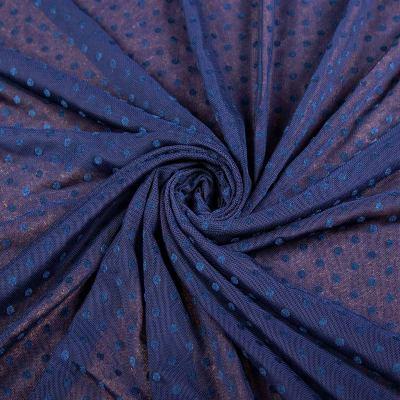 Сетка стрейч принт флок т.синий (мелкий горох ≈ 3-5мм) VT-1176-C3
