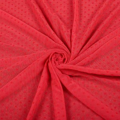 Сетка стрейч принт флок красный (мелкий горох ≈ 3-5мм) VT-1176-C5