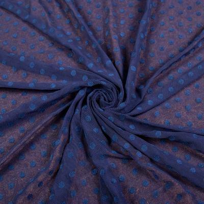 Сетка стрейч принт флок т.синий (крупный горох ≈ 5-7мм) VT-1177-C2