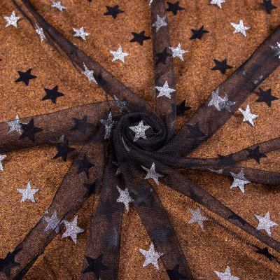 Сетка флок (звёзды напыление серебро на чёрном) VT-1182
