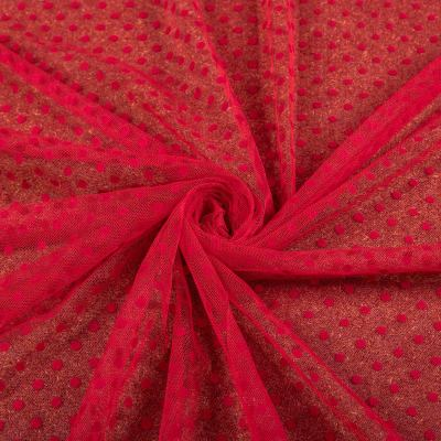 Сетка флок красный (мелкий горох ≈ 3-5мм) VT-1184-С2