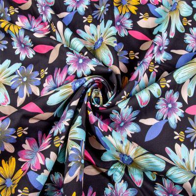 Джинс коттон принт (цветы) VT-1191
