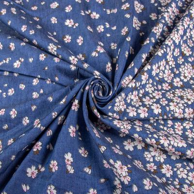 Джинс принт двусторонний купон (цветы) VT-1192