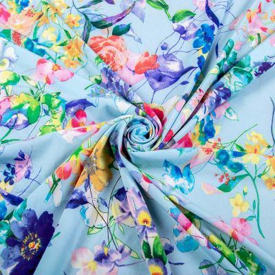 Супер софт принт (цветы на голубом) VT-1207