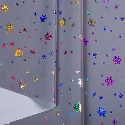 Плащевка рефлективная/светоотражающая (снежинки разноцветные) VT-1229