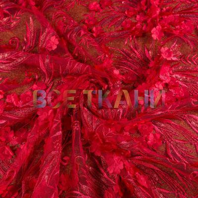 Сетка 3D цветы (купон+пайетка) VT-1042-С1