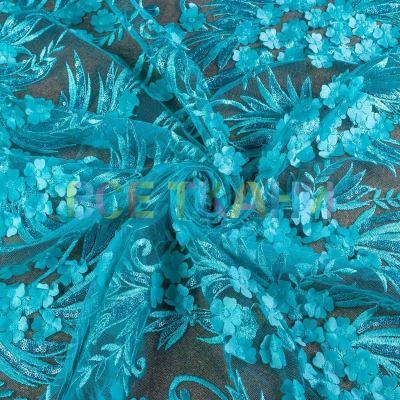 Сетка 3D цветы (купон+пайетка) VT-1042-С2