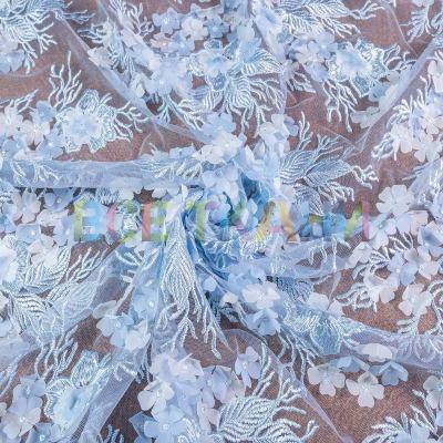 Сетка 3D цветы купон (голубой) VT-1041-C3