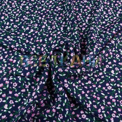 Штапель (розовые цветочки на т.синем) VT-1385