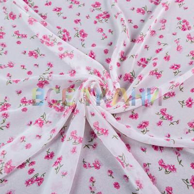 Шифон принт (розовые цветы на белом) VT-1388