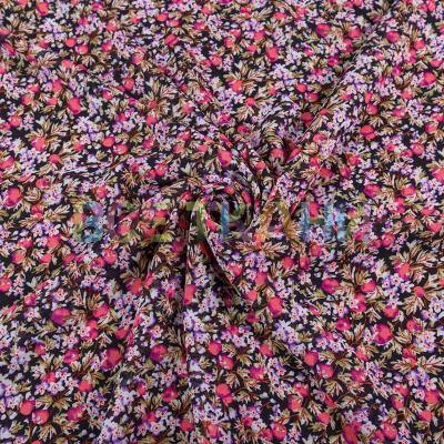 Шифон принт (цветы на чёрном) VT-1390