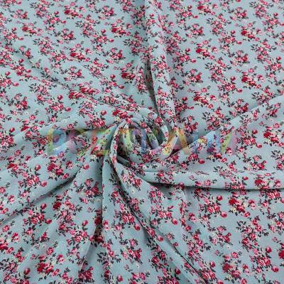 Шифон принт (цветы на мяте) VT-1391-С2