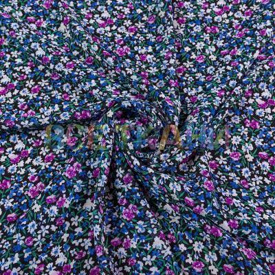 Шифон принт (цветы на чёрном) VT-1392