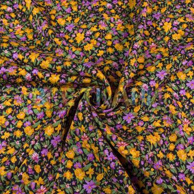 Штапель (жёлтые цветы на чёрном) VT-1393