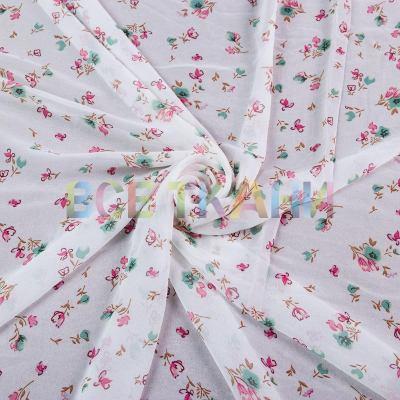 Шифон принт (розовые цветы на белом) VT-1398