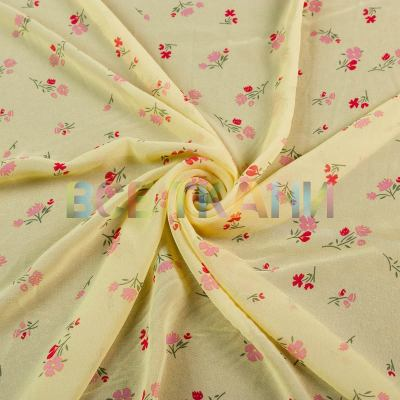 Шифон принт (красные цветы на жёлтом) VT-1399