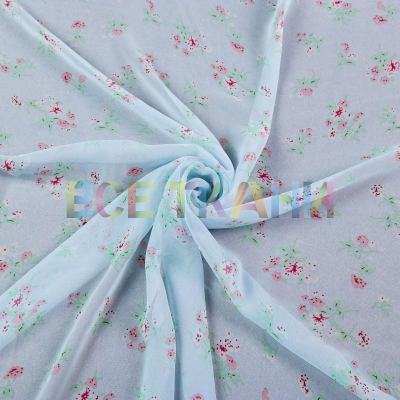 Шифон принт (цветы на голубом) VT-1400