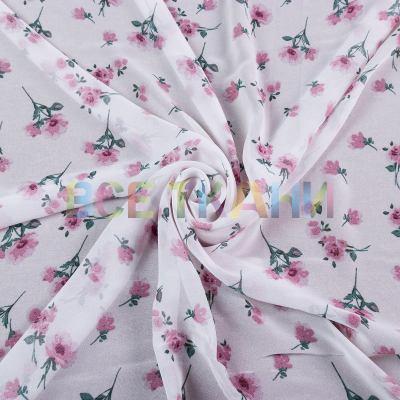 Шифон принт (цветы на бледно-розовом) VT-1401