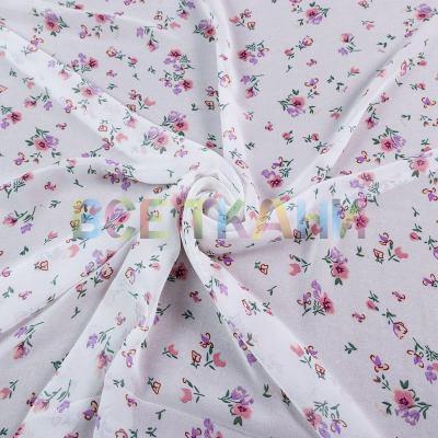 Шифон принт (цветы на белом) VT-1403