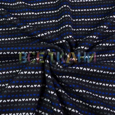 Трикотаж принт на меху (синие сердечки) VT-1697-С1