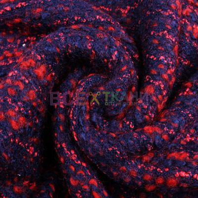 Трикотажное стрейчевое буклированное полотно ( сине красное ) ZT-17129- С12