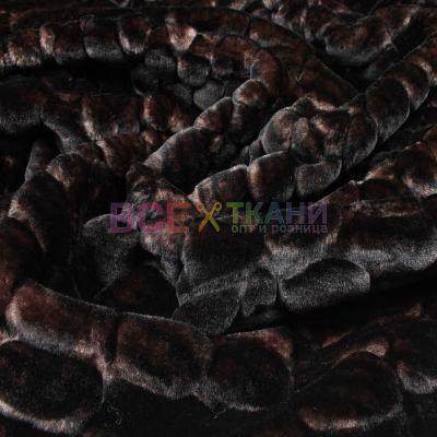 Мех фактурный коротковорсовый (чешуйка) коричневый VT-425